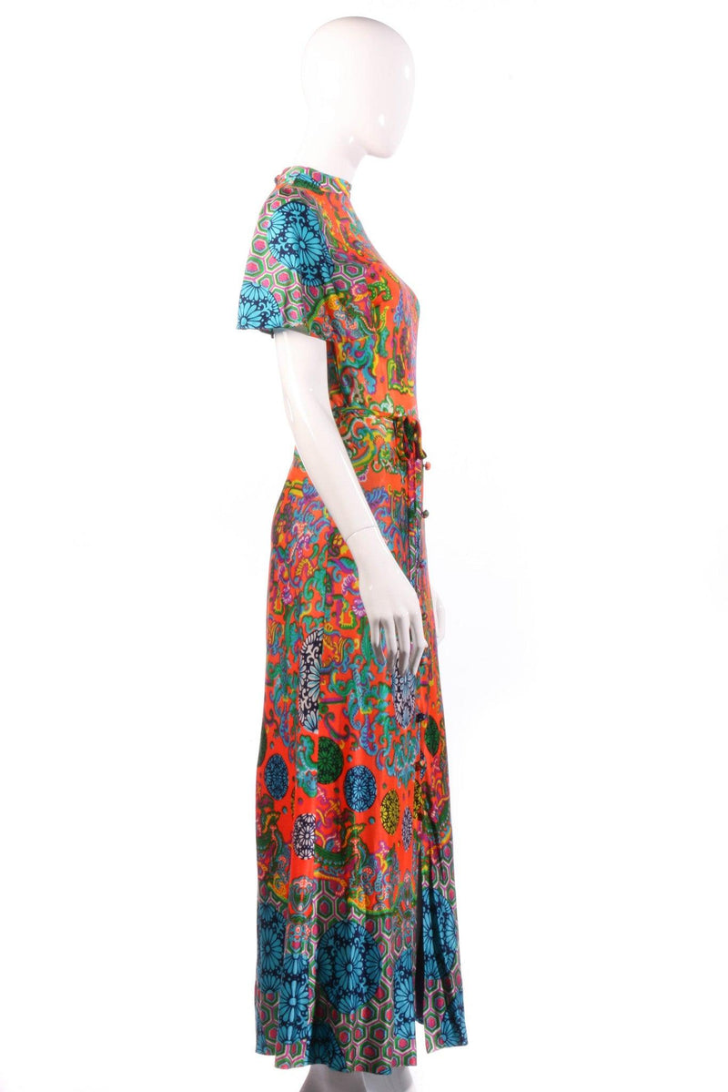 Leygil multi coloured floral maxi dress side