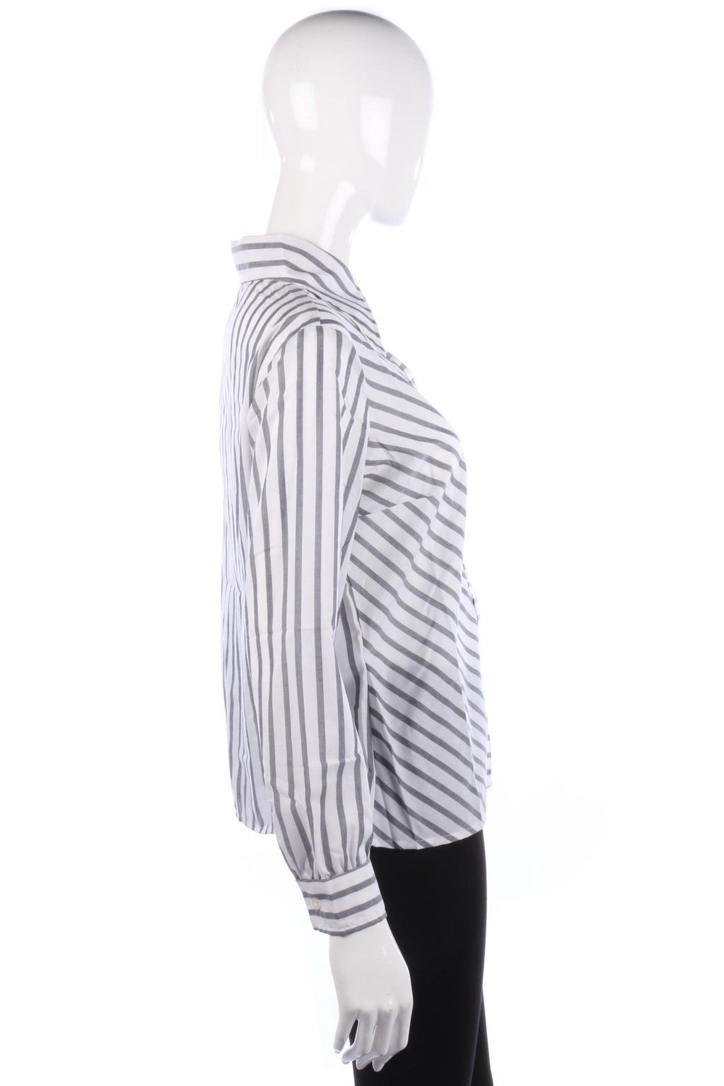 Vintage 1970's Big Collar Shirt White and Grey Striped Cotton size M/L