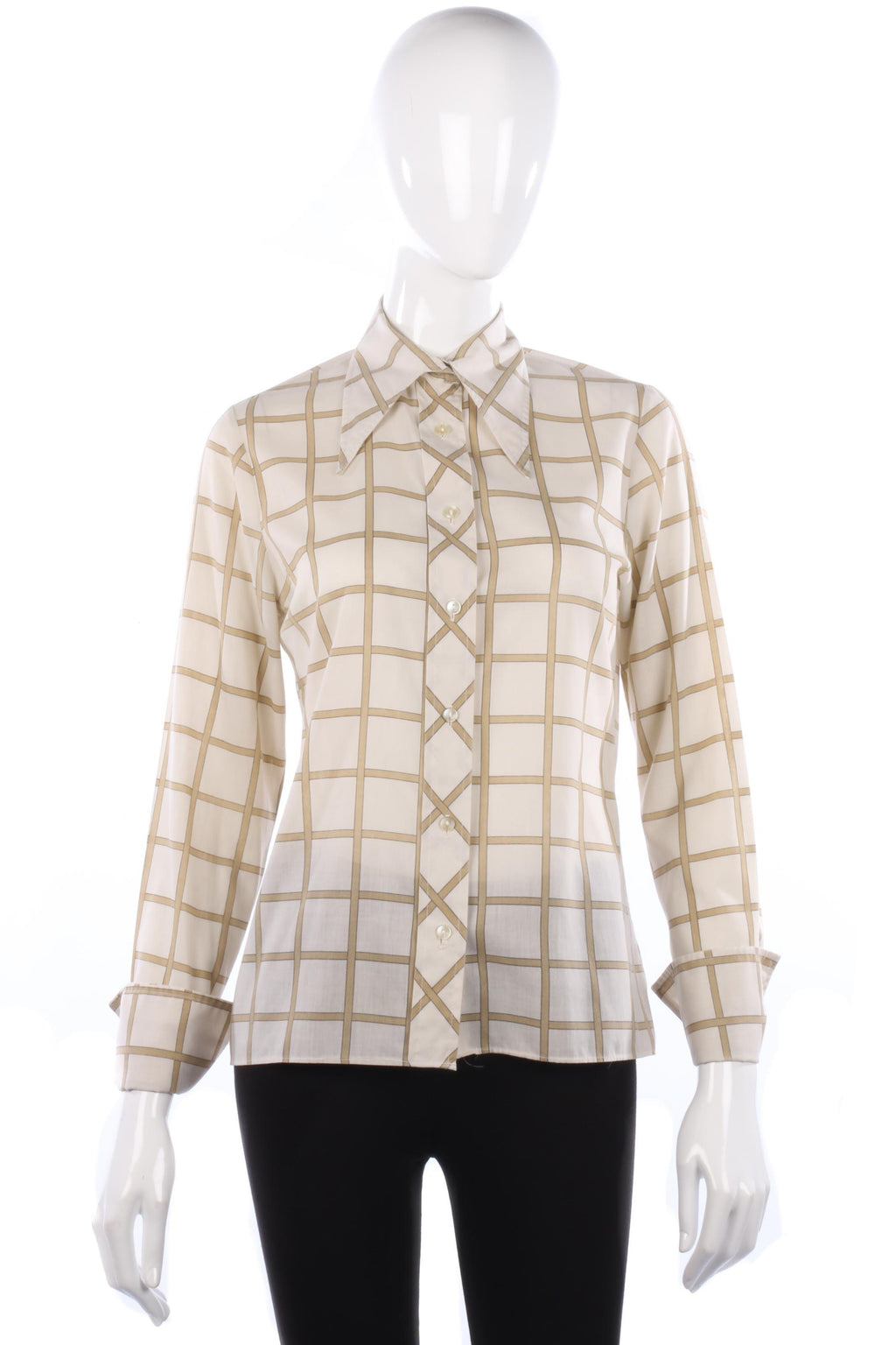 Double Two 1970s Vintage Ladies Check Shirt  Pointed Collar Size 10/12