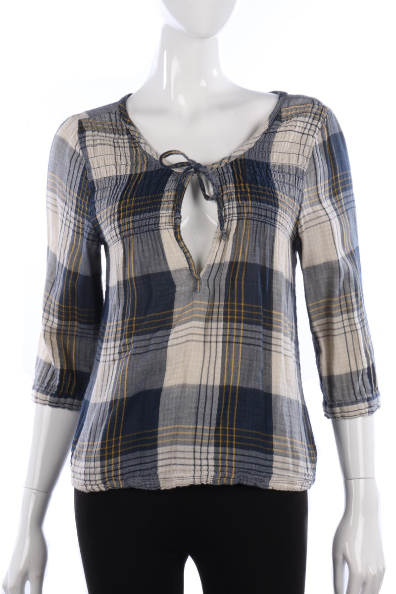 Hollister Cotton Folk Top Blue and Cream Check Size L