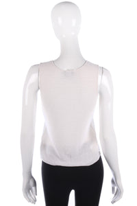 Giorgio Armani Silk Top  Knitted Fabric Light Cream Size 40 (UK8)