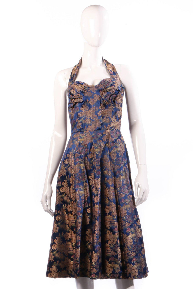 Joyce Riduqs Blue floral halterneck dress size 12