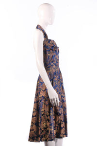 Joyce Riduqs Blue floral halterneck dress size 12 side