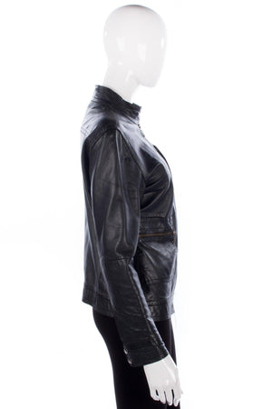 Soft Leather Biker Style Jacket Black with Zip Detail UK Size 10