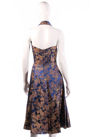 Joyce Riduqs Blue floral halterneck dress size 12 back
