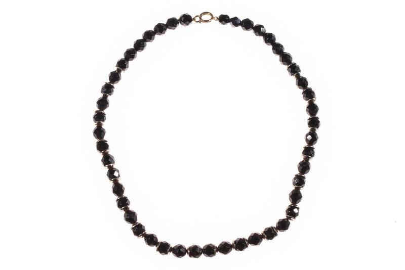 Short black beaded necklace