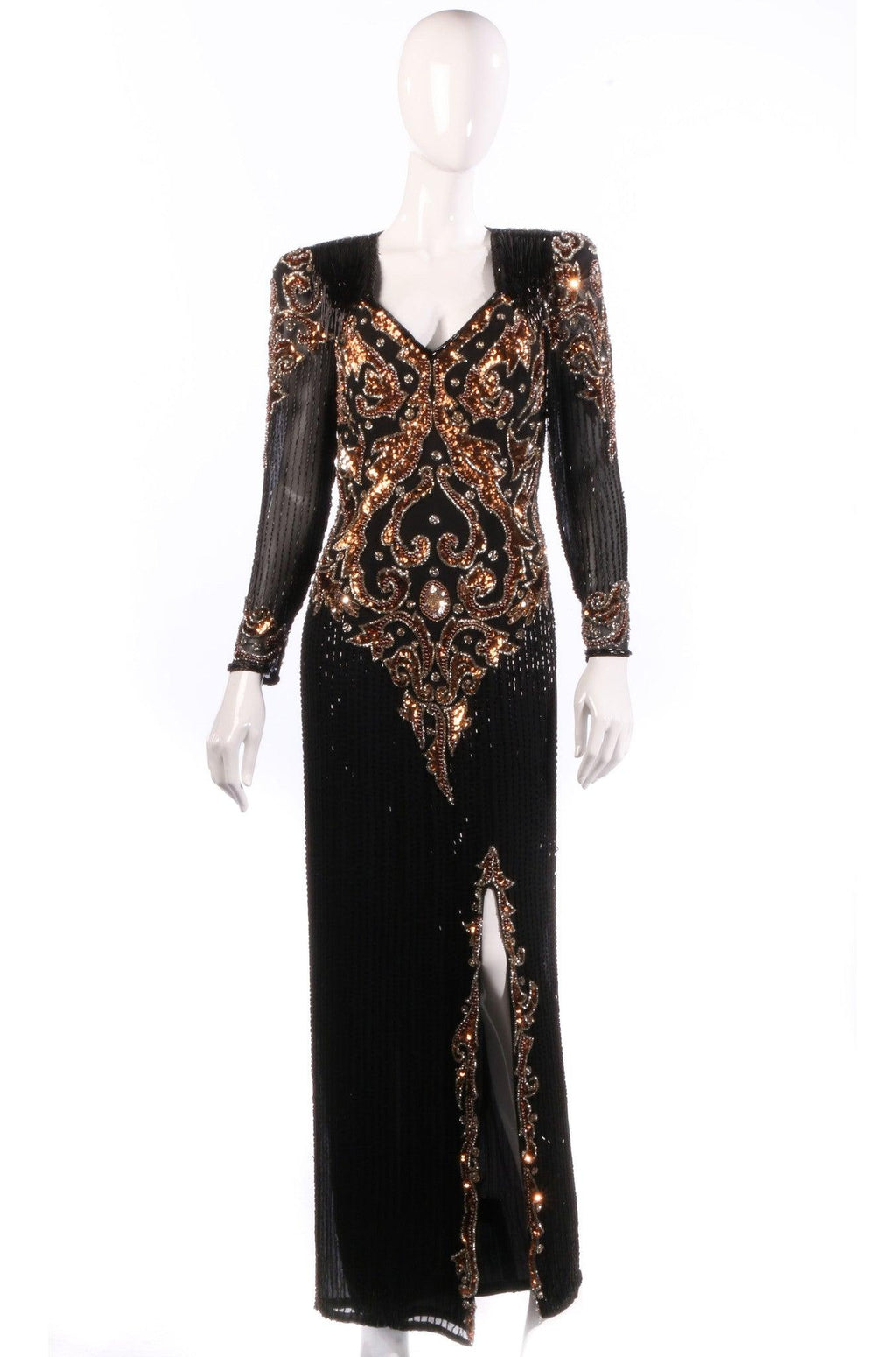 204d7ff4ee7 Black and bronze sequinned ball gown size 10 12