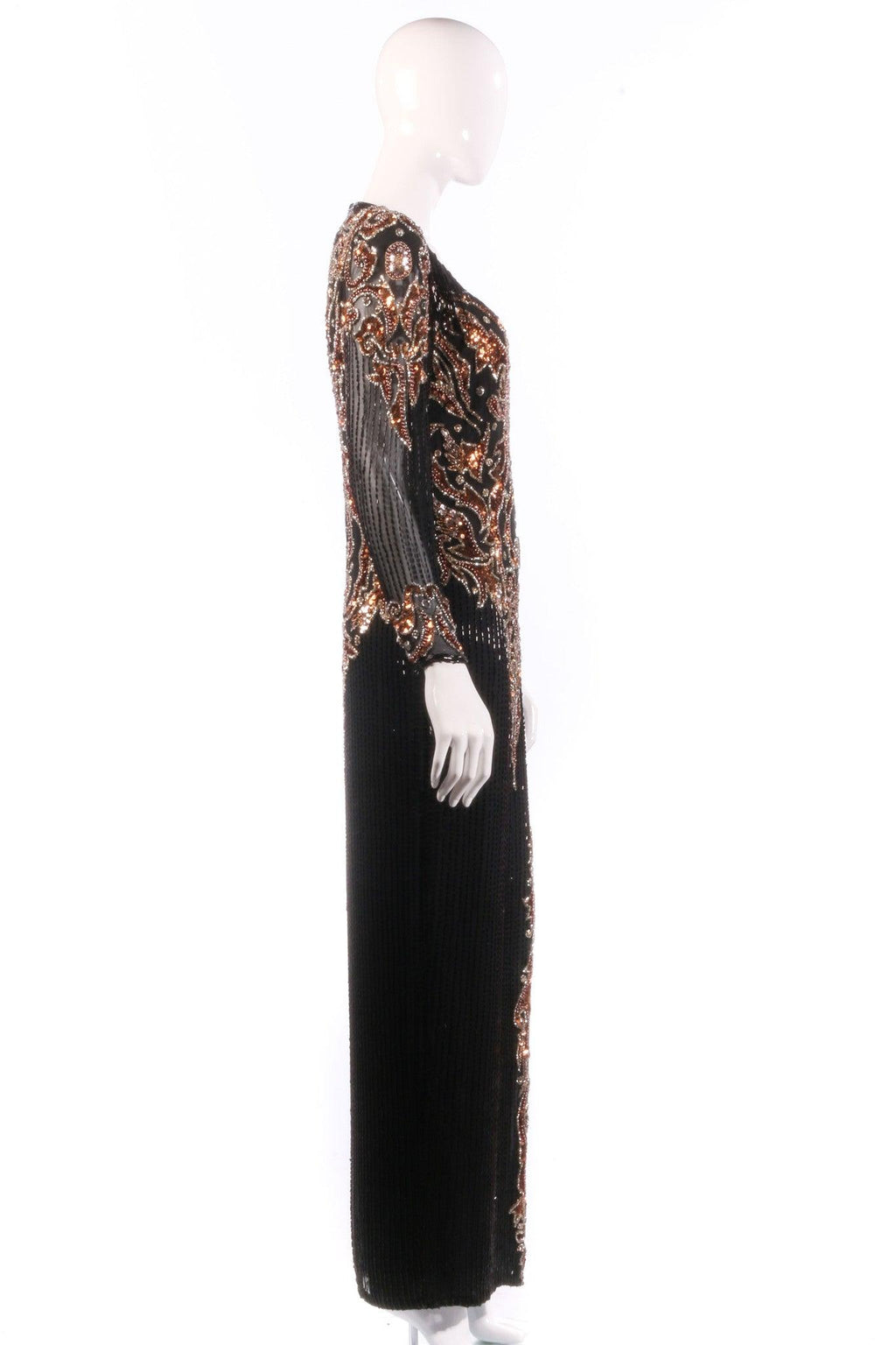 Black and bronze sequinned ball gown  side