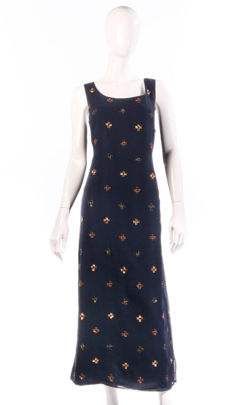 Navy dress with beaded detail