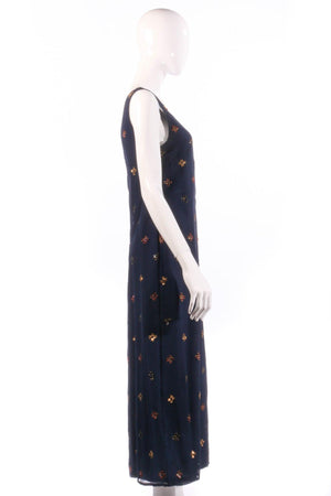 Navy dress with beaded detail  side