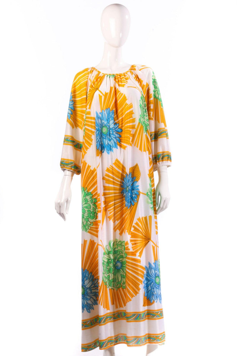 Yellow and blue floral kaftan