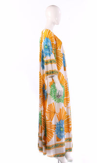 Yellow and blue floral kaftan side