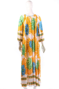 Yellow and blue floral kaftan back