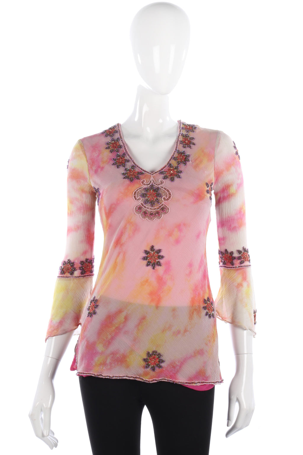 Aftershock Silk Embroidered Top Orange and Pink Size 8-10