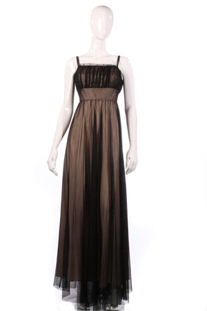 Caroline Charles nude and black ball gown