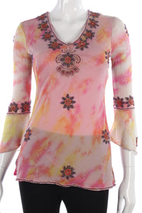 Aftershock 100% Silk Embroidered Top Orange and Pink Size S (UK8/10)