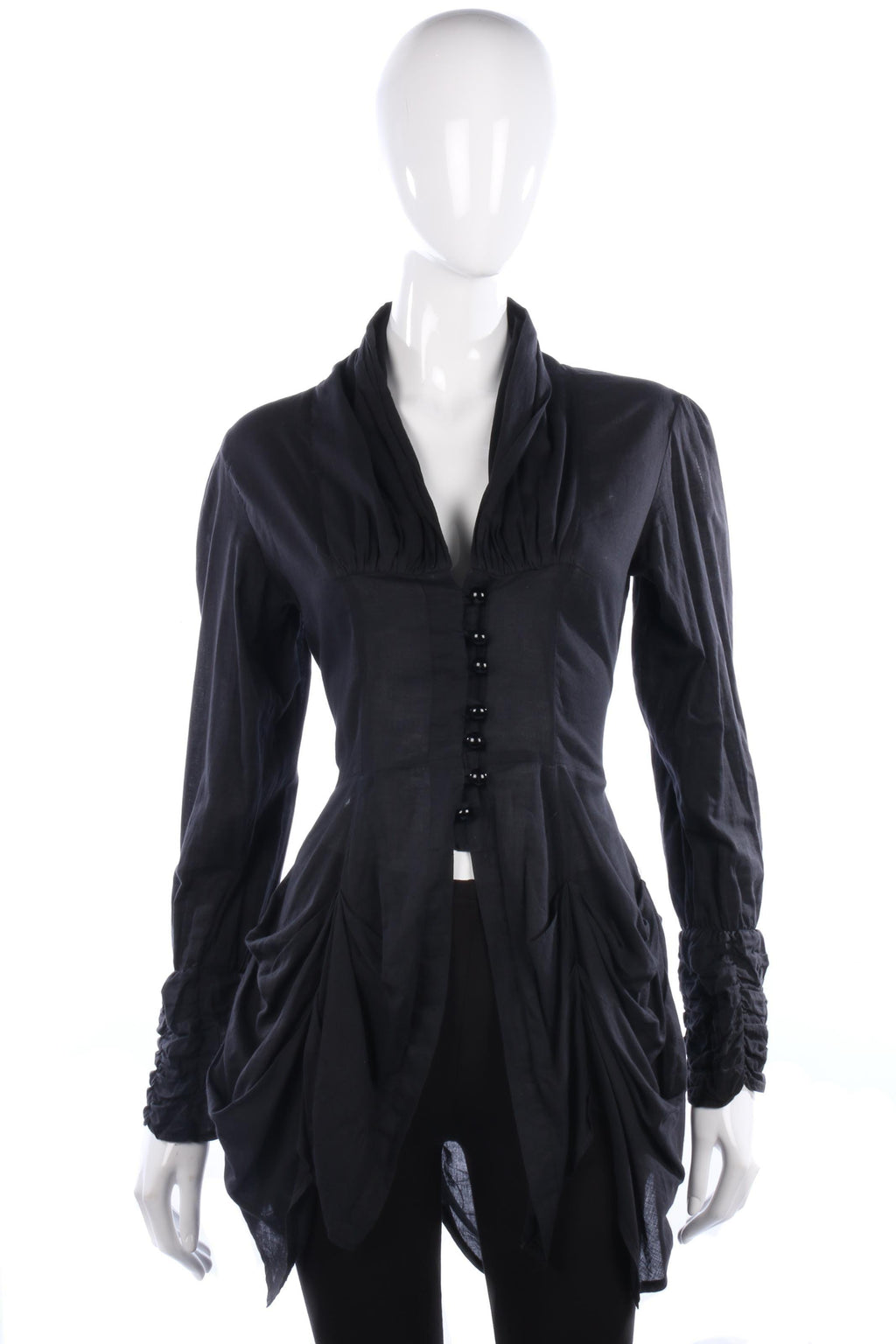 Layers Paris Long Black Cotton Shirt with Button and Ruffle Detail Size 6/8