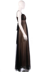 Caroline Charles nude and black ball gown side