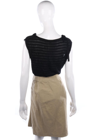 Jaeger Wraparound Skirt Linen Mix Khaki with Stripe Details Size 8