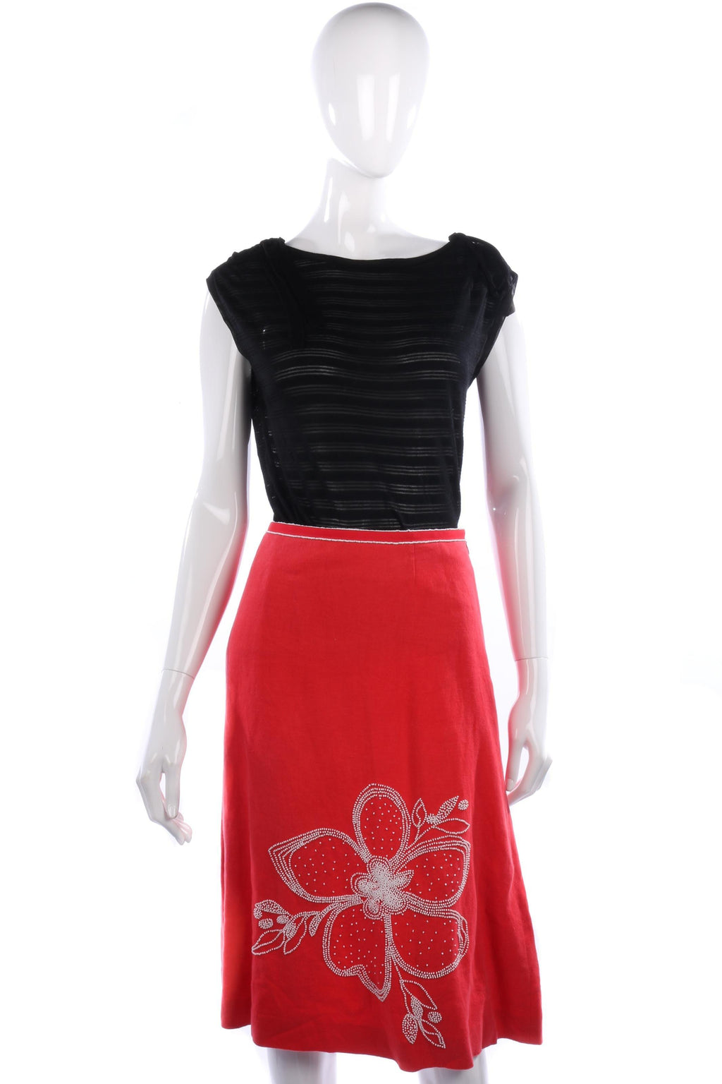 Coast Red Linen Skirt with White Bead Embroiderey Detail Size 12