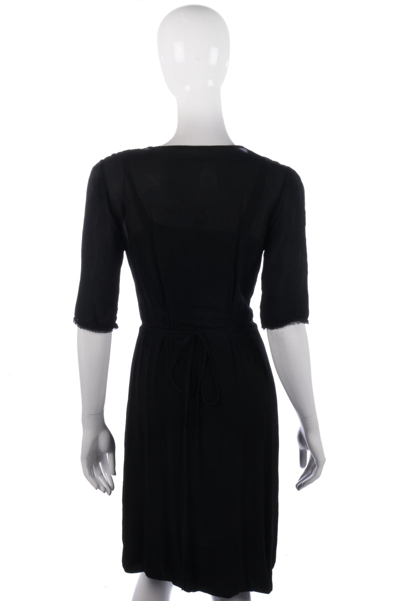 Black wrap style dress with lace detail size 12