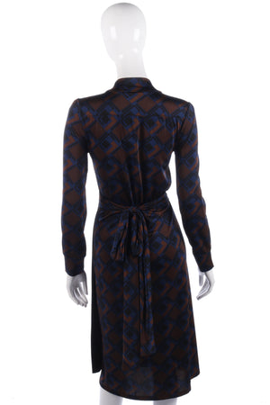 Vandenvos blue and brown wrap dress size S/M