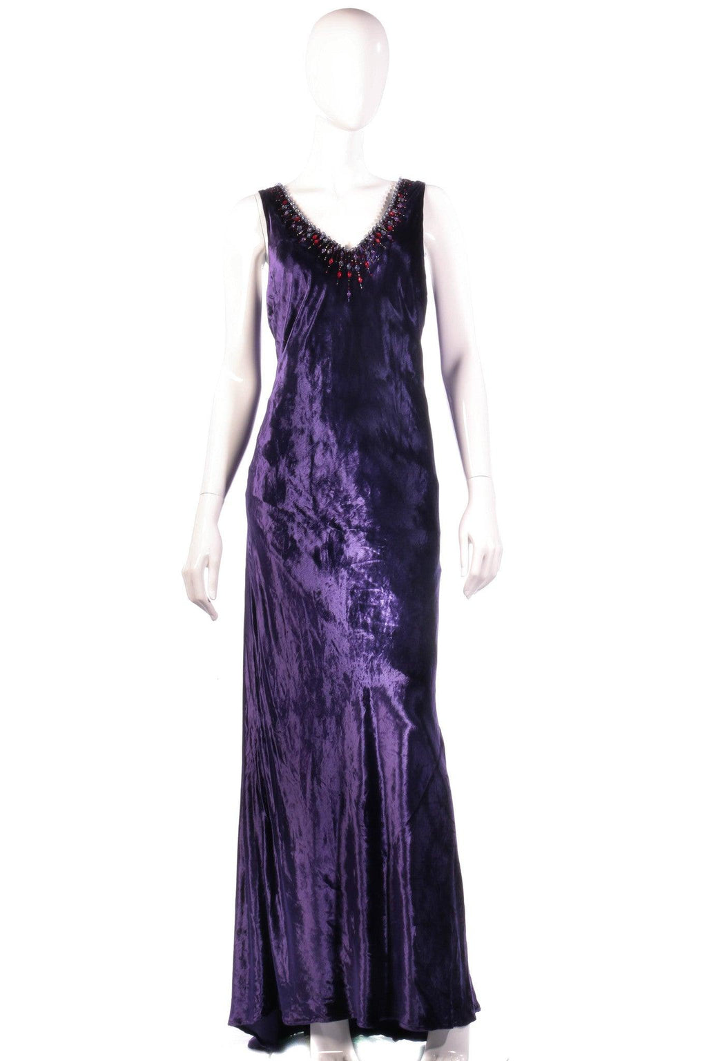 Purple velvet maxi dress with beaded neckline