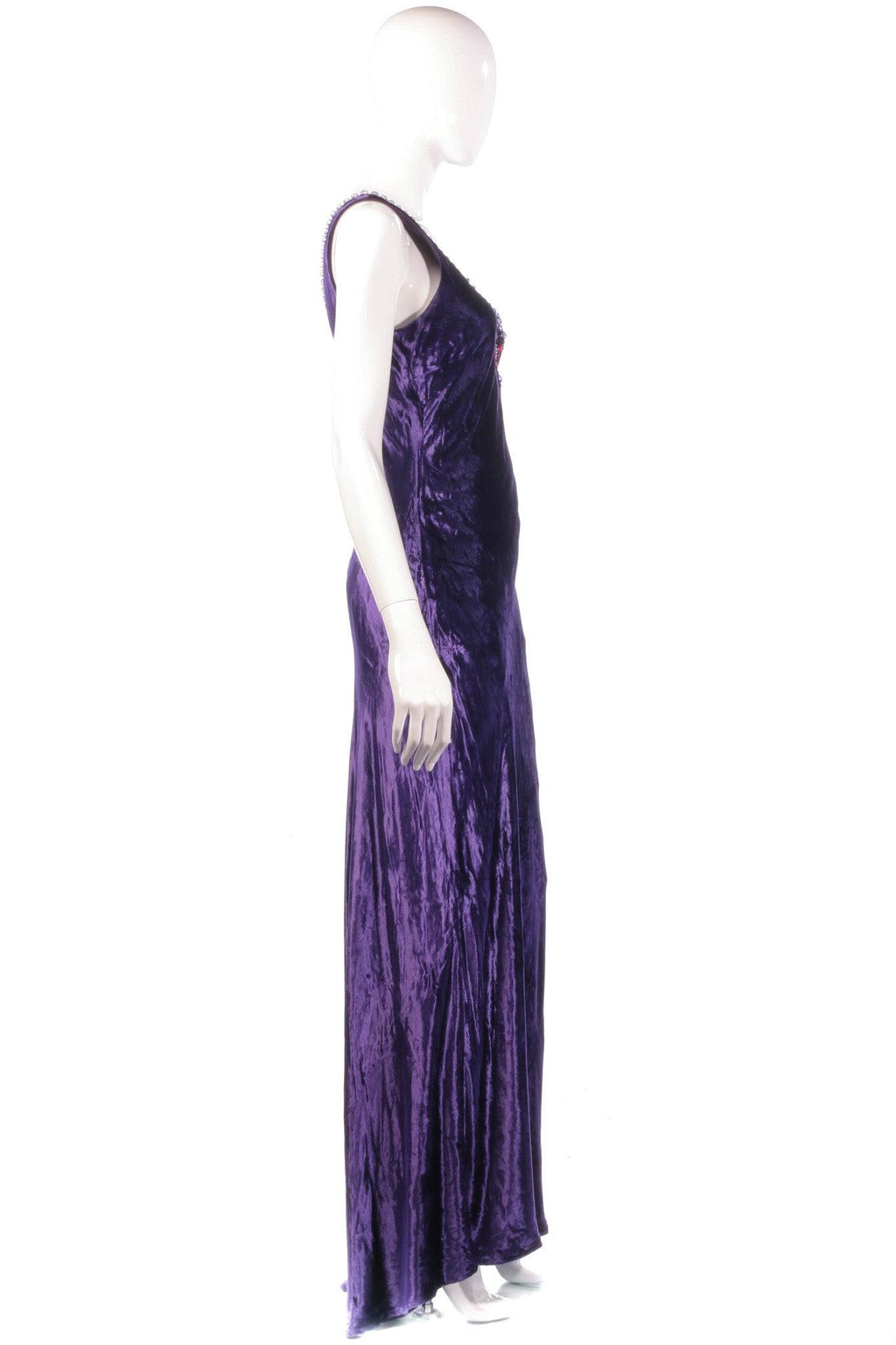 Purple velvet maxi dress with beaded neckline side