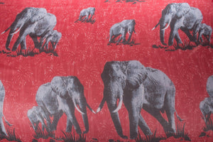 Red and grey summer weight scarf with elephant detail