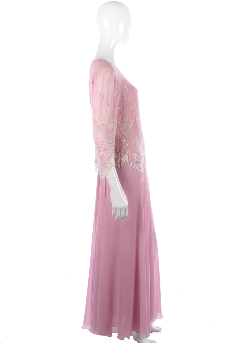 Amazing vintage Frank Usher pink beaded top and skirt