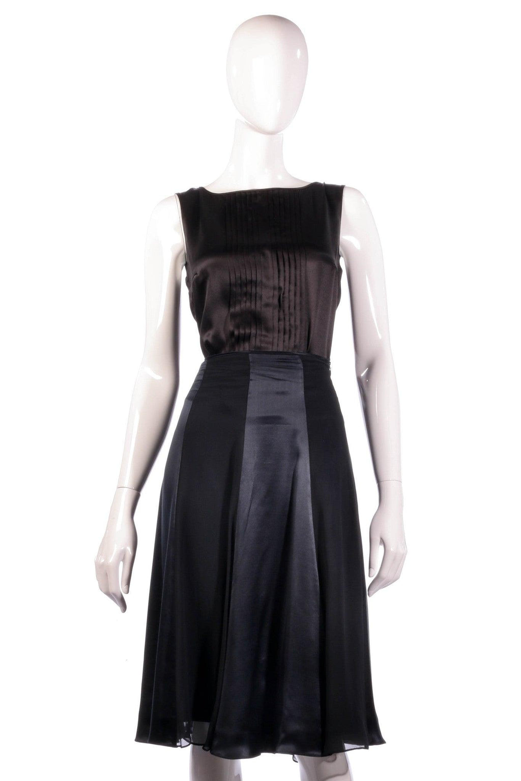 Black silk panelled skirt