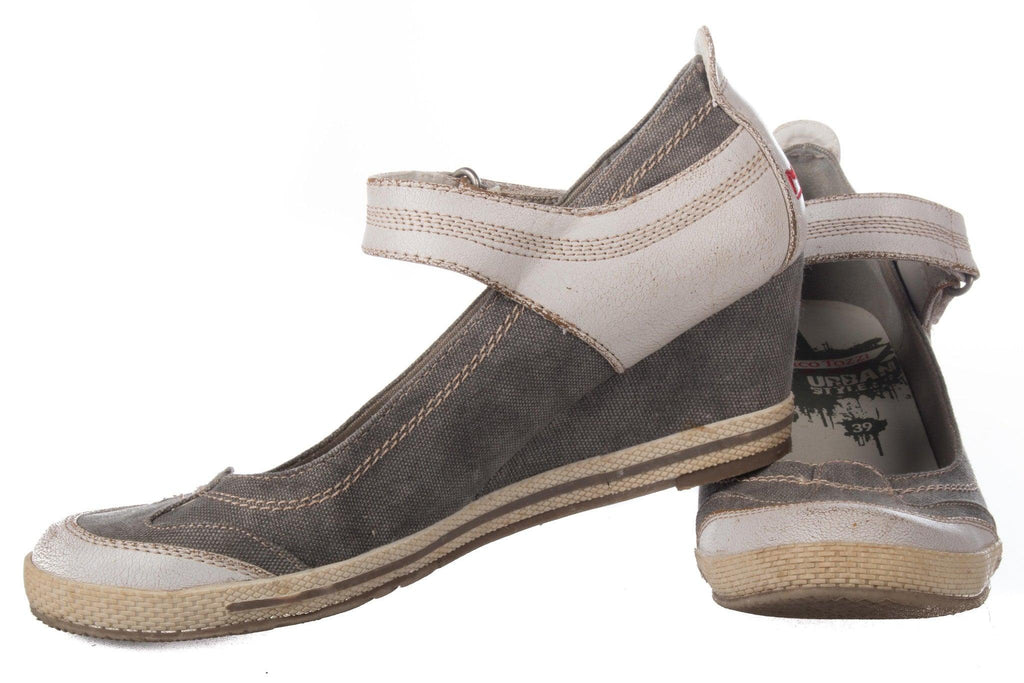 Marco Tozzi urban style canvas and leather distressed shoes UK size 6