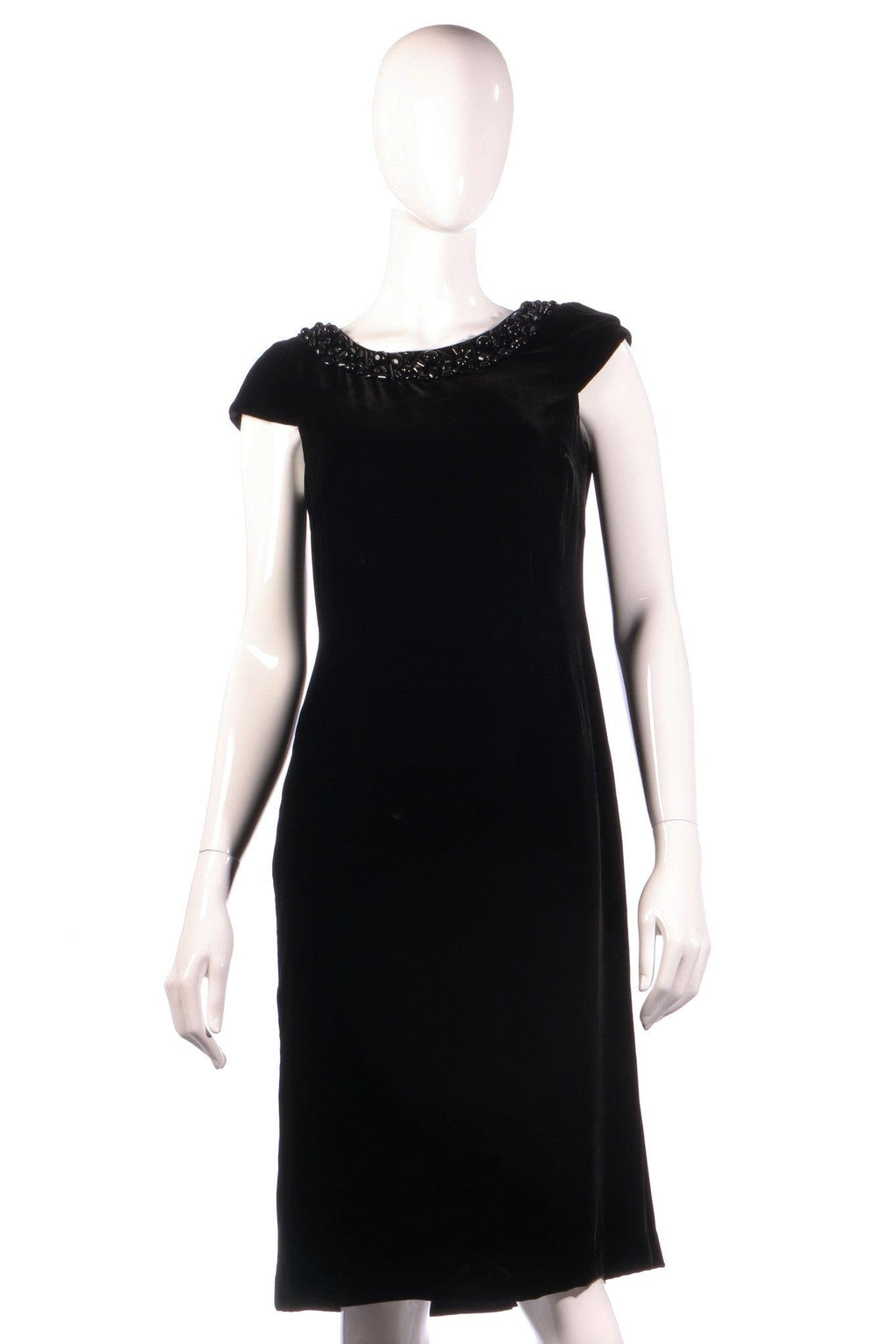 New black velvet hobbs dress size 10 with bead detail