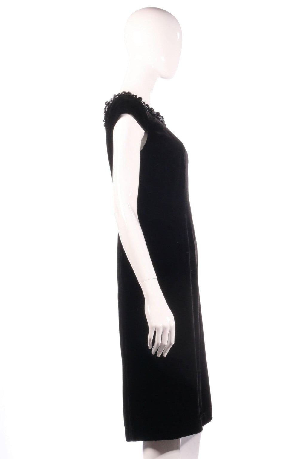 New black velvet hobbs dress size 10 with bead detail side