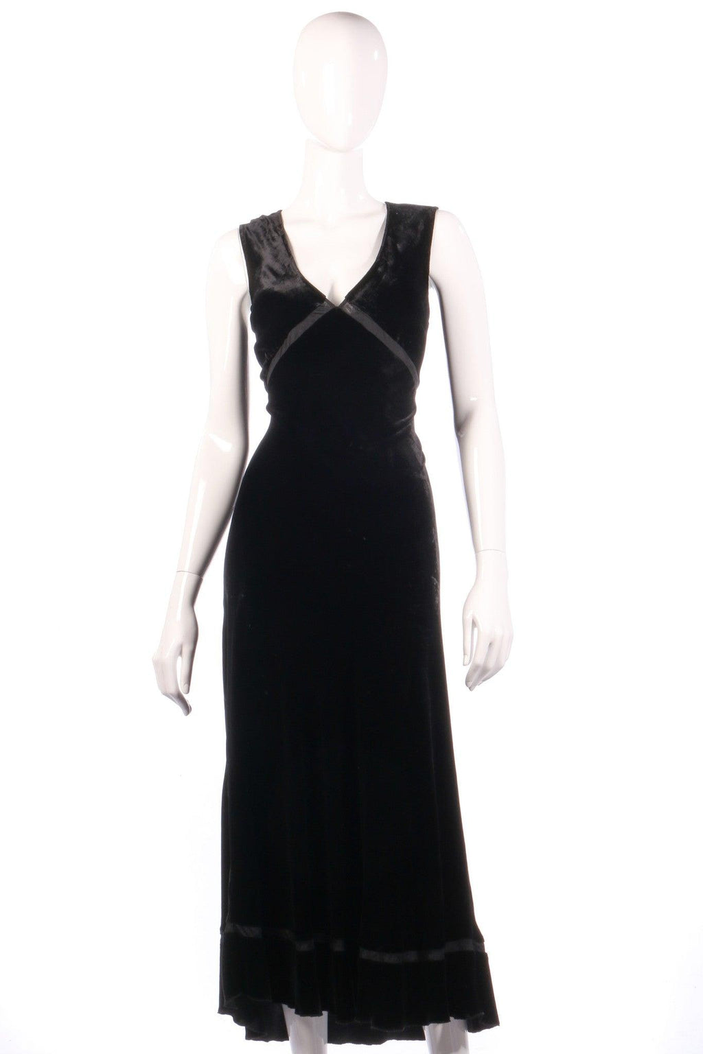Kew black velvet maxi dress size 14