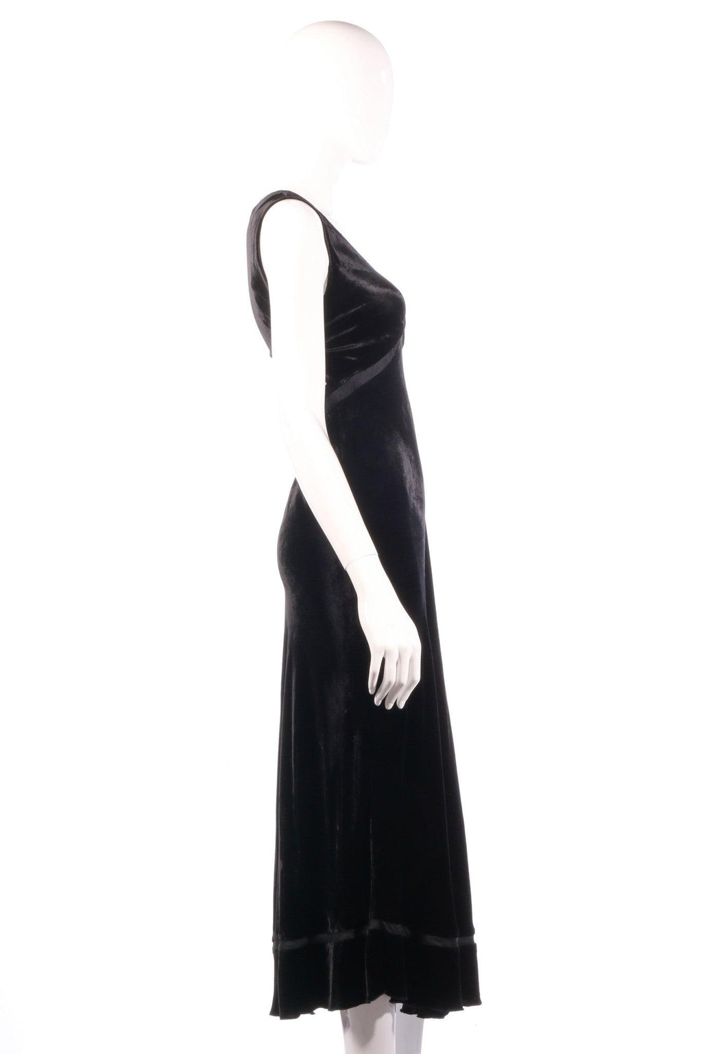 Kew black velvet maxi dress size 14 side
