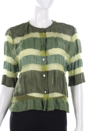 Olsen Sheer Linen Metallic Fabric Summer Top Size 12 Boho Festival
