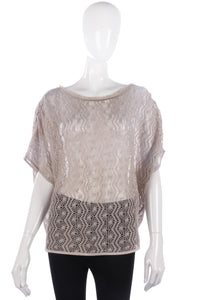 Lovely beige crotchet top, one size