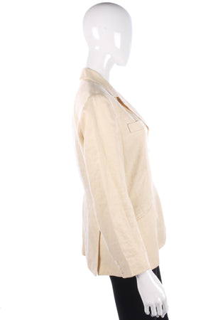 Paul Smith Women Designer Jacket Cream Linen Size 46 (UK14)