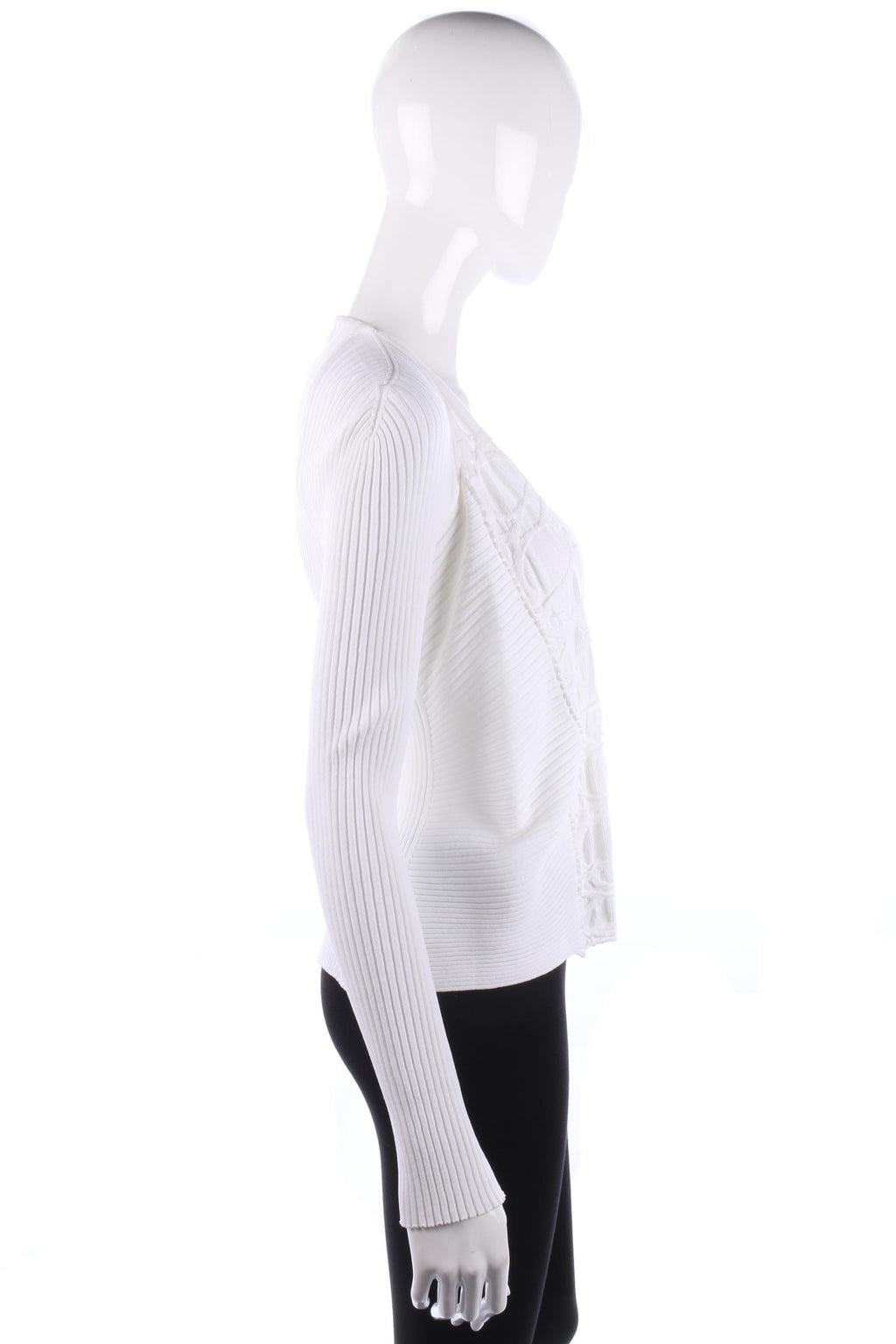 She's So Cardigan Ribbed Design White Size 42. Italian Designer Knitwear