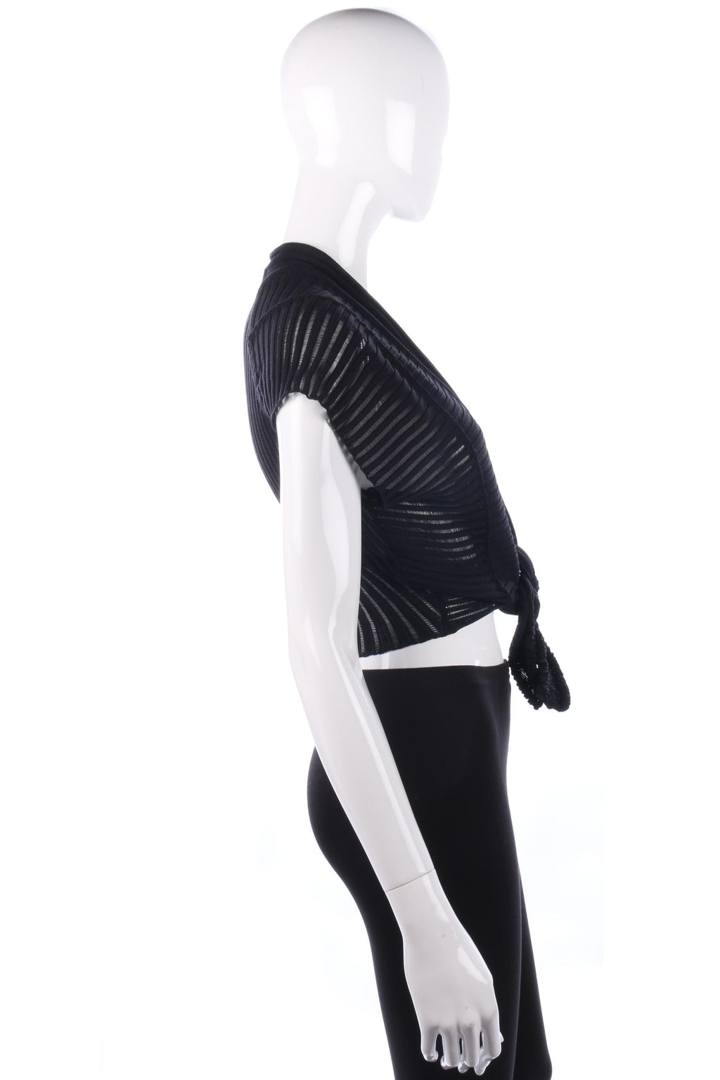 She's So Knitted Black Sleeveless Cardigan. Stunning Italian Designer. Size S
