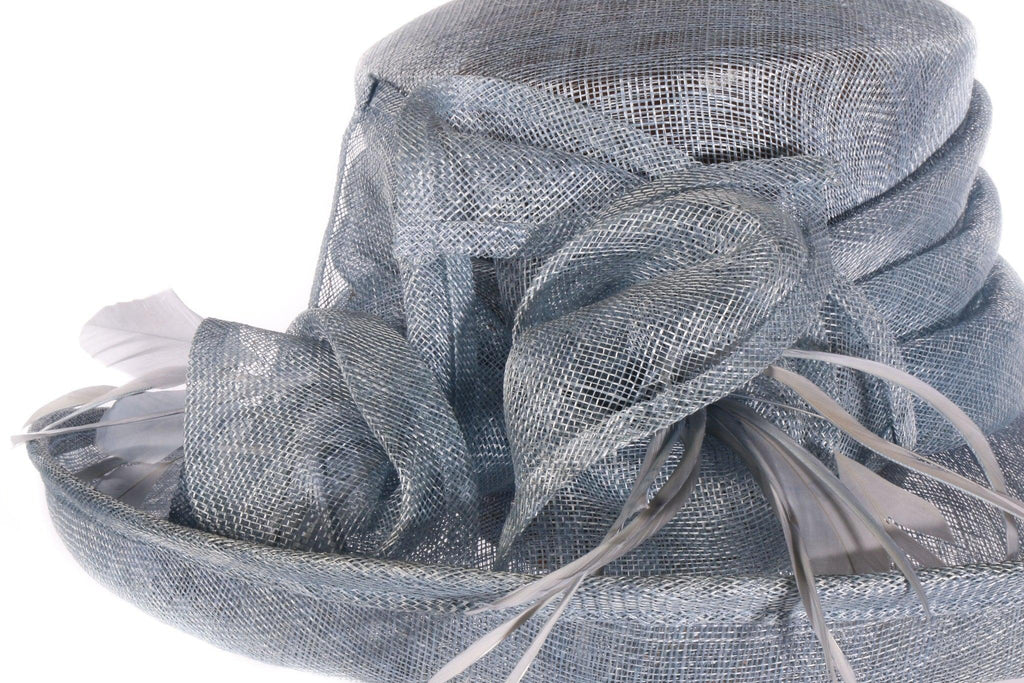Failsworth millinery blue formal hat side