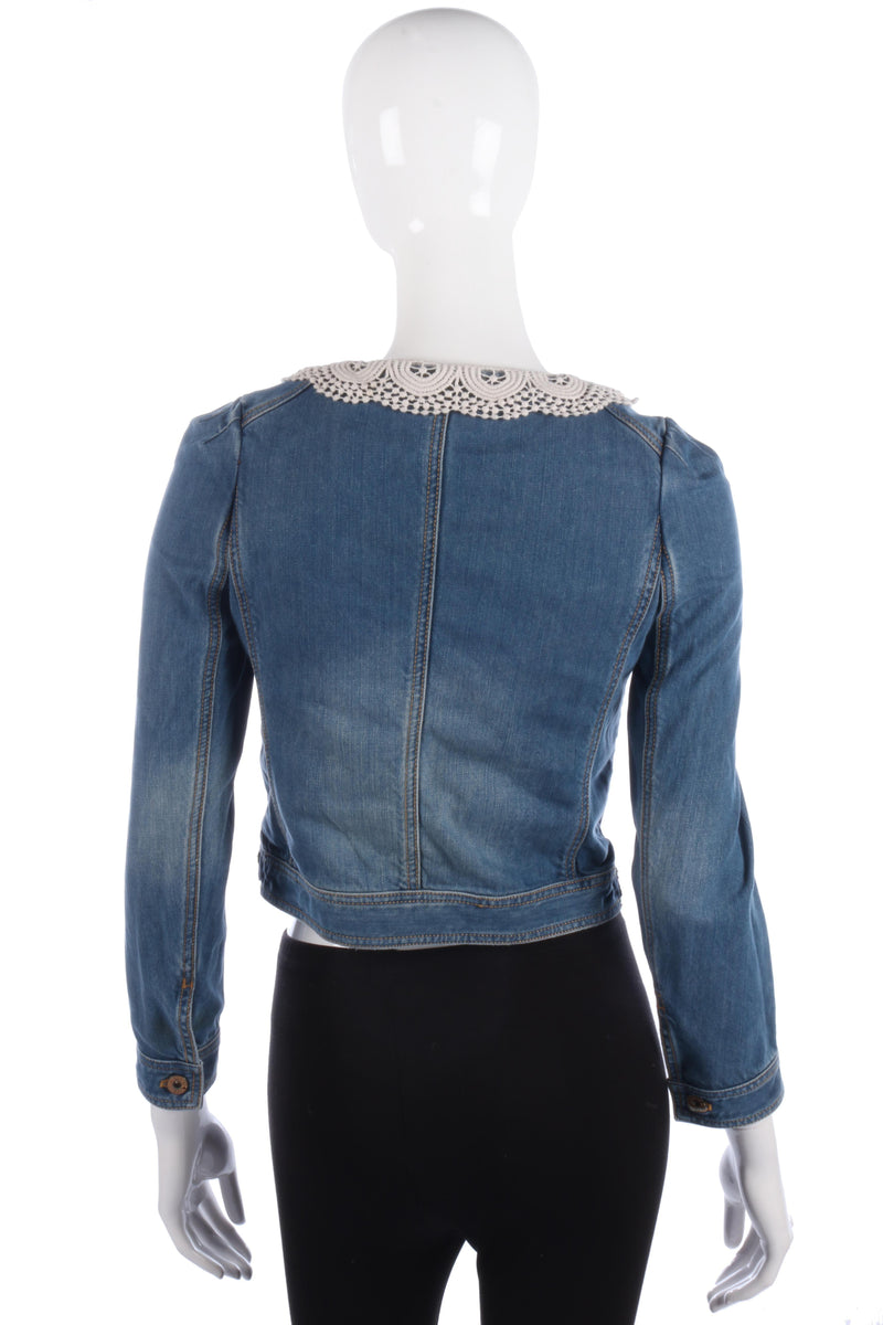 Fabulous Ochirly Blue Denim Jacket with Crotchet Collar Size S