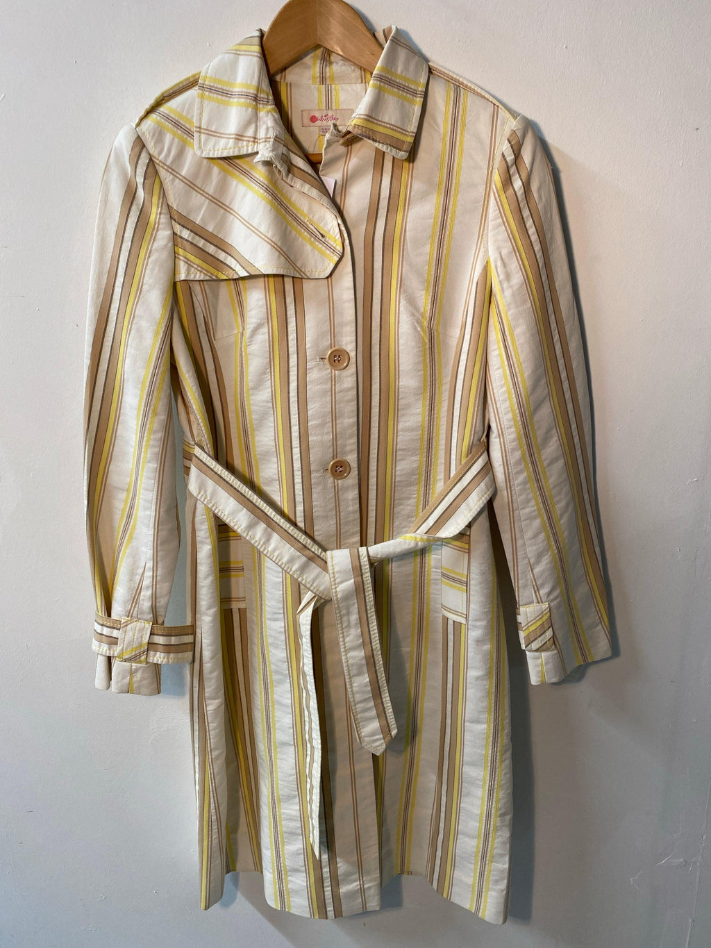 Whistles 100% Cotton Trench Coat Cream Brown and Yellow Stripes UK Size 10