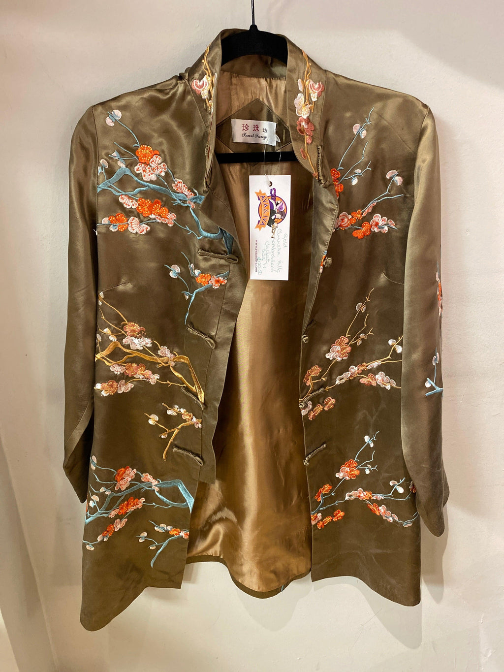 Gold Chinese silk jacket embroidered with blossom detail UK size m