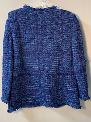 Liola Boucle Jacket Made in Italy Blue IT48 UK Size 16