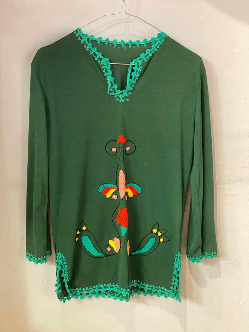 Vintage dark green cotton embroidered top with bell sleeves UK sizes/m