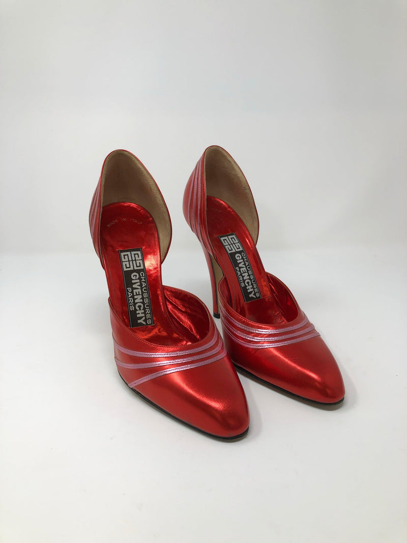Givenchy Chaussures Paris Vintage Metallic Red Leather Shoes Size 6M (UK4)