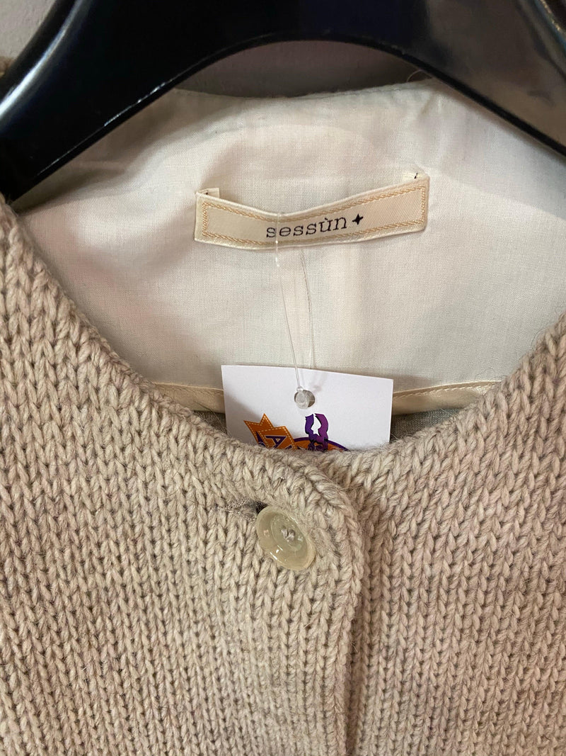 Sessun beige fleck knitted jacket with leather front fastening & pockets UK size m