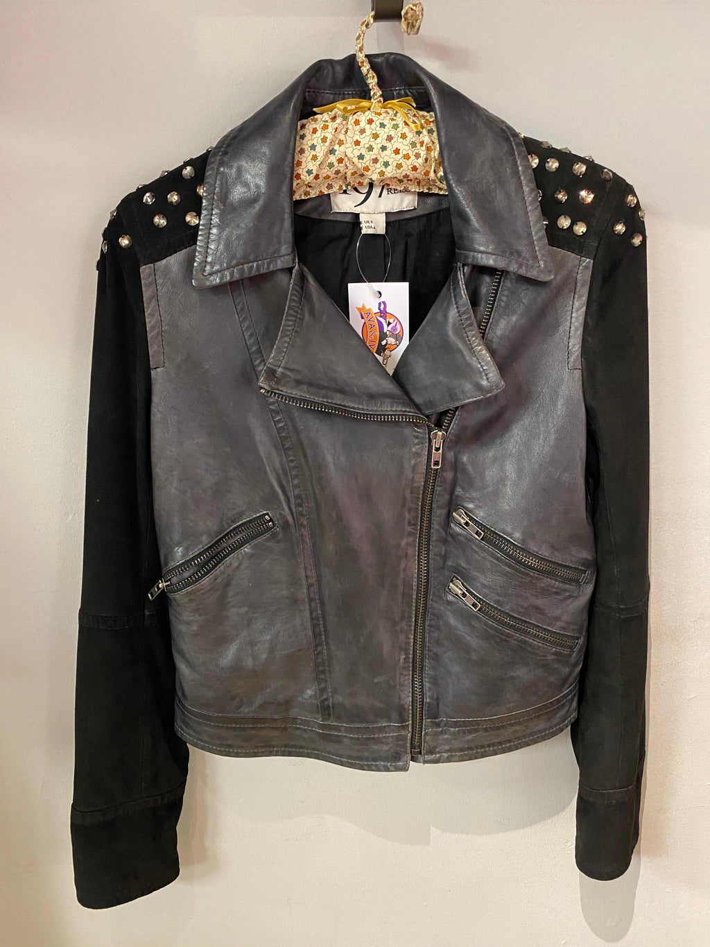 Reiss 1971 black biker style leather jacket with brass studs UK size S